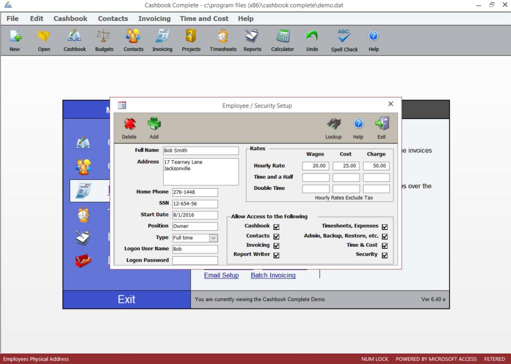 Employee & Security Setup screen