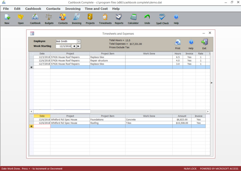 Timesheets & Expenses screen